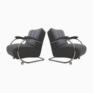 Vintage Tubular Steel Armchairs, Set of 2