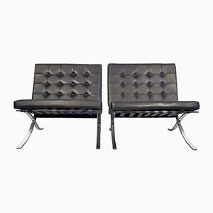 Vintage Black Leather Lounge Chairs by Ludwig Mies van der Rohe, Set of 2