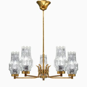 Schwedischer Eisglas & Messing Kronleuchter mit 5 Lampenschirmen von Carl Fagerlund für Orrefors, 1960er