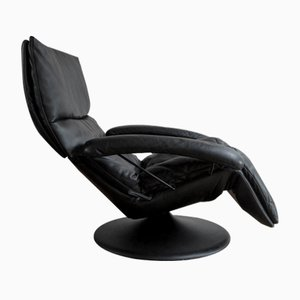 Black Leather Lounge Chair, 1970s