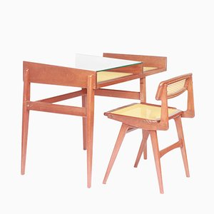 Vintage Chair & Desk in Wood & Cane by Roger Landault