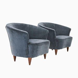 Italienischer Sessel mit Blauem Samtbezug, 1950er, 2er Set