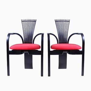Vintage Black & Red Dining Chairs, Set of 2