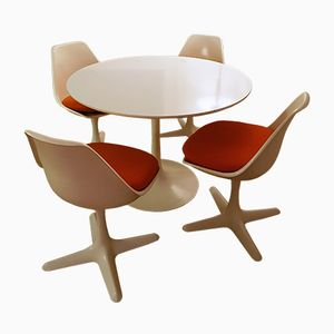 Vintage Tulip Table & 4 Chairs by Maurice Burke for Arkana