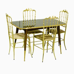 Mid-Century Card Table & 4 Brass Dining Chairs by Giuseppe Gaetano Descalzi for Chiavari