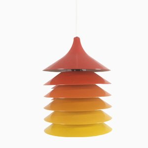 Vintage Duett Hanging Lights in Orange, Yellow, and Red by Bent Gantzel Boysen for Ikea, 1970s, Set of 3