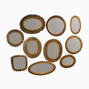 Mid-Century Italian Rattan Wall Mirrors, Set of 10