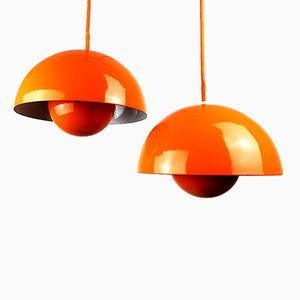 Suspensions Orange par Verner Panton pour Louis Poulsen, 1960s, Set de 2