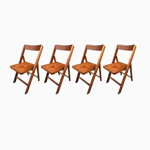 Mid-Century Folding Chairs in Beech, 1950s, Set of 4