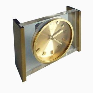 Brass & Plexiglass Table Clock from Kienzle, 1960s