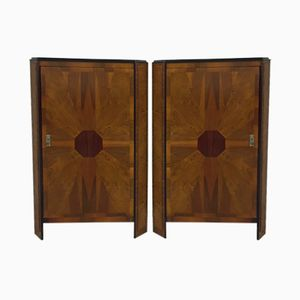 Vintage Inlaid Wardrobes, Set of 2