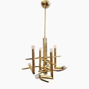 Chandelier in Brass by Gaetano Sciolari, 1970s