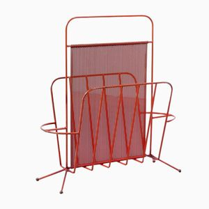Vintage Red Metal Perforated Magazine Holder from Artimeta