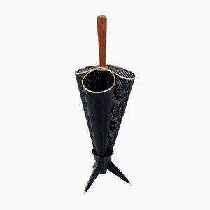 Schwarz Perforierter Metall Schirmständer, 1950er