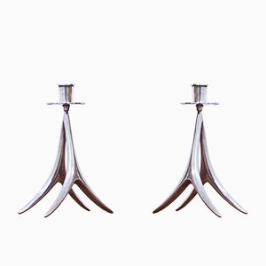 Silver Candle Sticks by Anna Greta Eker for Auran Kultaseppä, 1972
