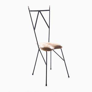 Stuhl aus Eisen und Herzförmigem Holzsitz von Gianni Veneziano