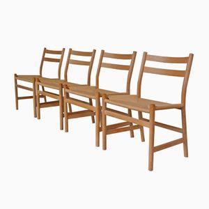 Dänische Papierkordel Stühle von Søren Holst für Fredericia, 1980er, 4er Set