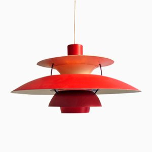 Suspension PH5 Vintage Rouge par Poul Henningsen pour Louis Poulsen