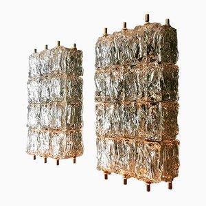 Lampade da parete grandi in cristallo di Aureliano Toso per Vereinigte Werkstätten, anni '50, set di 2