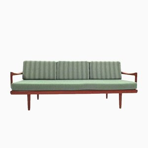 Mint Green & Teak 4-Seater Sofa by Tove & Edvard Kindt-Larsen for Gustav Bahus, 1950s