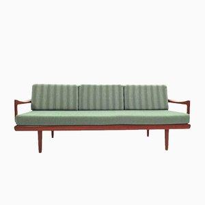 Sofá de cuatro plazas de teca en verde menta de Tove & Edvard Kindt-Larsen para Gustav Bahus, años 50