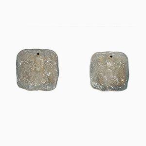 Applique da parete vintage in vetro a forma di ghiaccio di Kalmar, set di 2