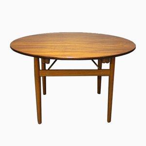 Runder Teak und Eichenholz Tisch mit Verlängerungen von Hans J. Wegner, 1960er