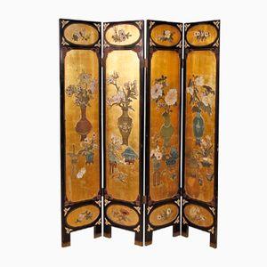 Französischer Lackierter Goldfarbener Chinoiserie Wandschirm, 1950er