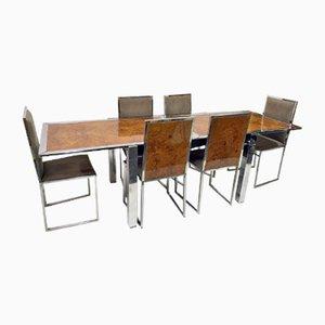 Table de Salle à Manger et Chaises en Broussin de La Metal Arredo, 1970s
