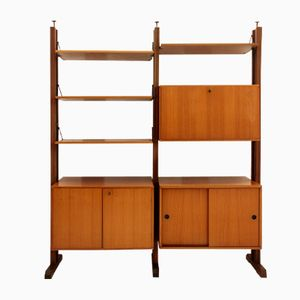 Italian Teak Veneered Shelving Unit, 1960s