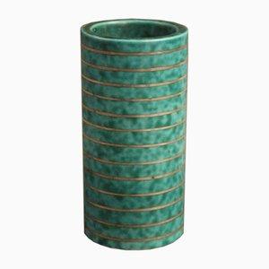 Türkise Vintage Argenta Vase von Wilhelm Kåge für Gustavsberg
