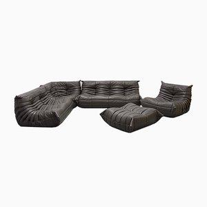 Vintage Graphite Leather Togo Sofa Set by Michel Ducaroy for Ligne Roset, 1970s