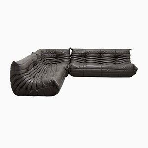 Graphite Leather Togo Sofa Set by Michel Ducaroy for Ligne Roset, 1970s