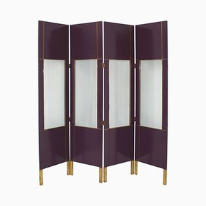 Vintage Lacquered Screen with Four Leaves