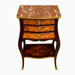 French Inlaid Night Stand with Marble Top, 1920s