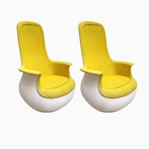 Culbuto Yellow Armchairs by Marc Held for Knoll Inc. / Knoll International, 1970s, Set of 2