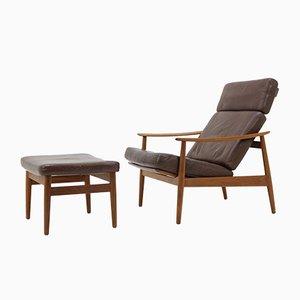 Vintage Modell FD 164 Lehnstuhl & Footstool von Arne Vodder für France & Søn