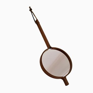 Teak Hand Mirror with Leather Strap by Hans-Agne Jakobsson, 1950s