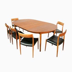 6 Nr. 77 Stühle & 1 Tisch von Niels Moller für J.L Mollers, 1960er