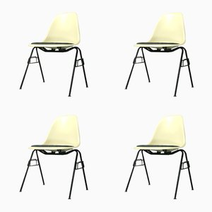 DSS Fiberglass Side Chairs with Stacking Bases by Charles & Ray Eames for Vitra, 1970s, Set of 4