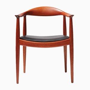 JH-503 Schreibtischstuhl aus Mahagoni und Leder von Hans Wegner für Johannes Hansen, 1950er