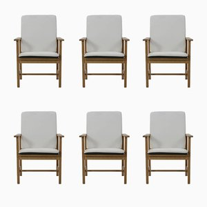 Vintage Oak Armchairs by Borge Mogensen for Fredericia, Set of 6