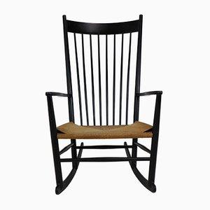 Rocking Chair J16 Noire par Hans Wegner, 1969