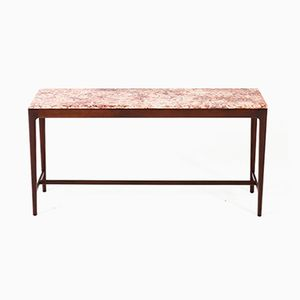 Mid-Century Modern Danish Mahogany Console Table with Marble Top, 1960s