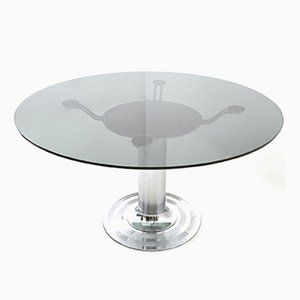 Round Chromed Metal & Glass Dining Table, 1970s