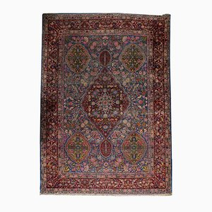 Antiker Handgeknüpfter Persischer Yazd Teppich, 1910er