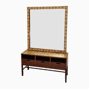 Vintage Rosewood & Porcelain Dresser and Mirror by Severin Hansen for Haslev Møbelsnedkeri
