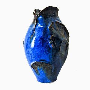 Blaue Keramikvase von Leif Heiberg Myrdam, 1970er