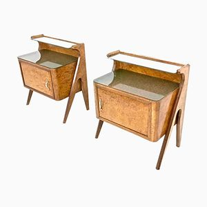 Birch Briar Root Nightstands with Glass Top, 1950s, Set of 2