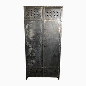 Französischer Grauer Metall Kleiderschrank, 1930er